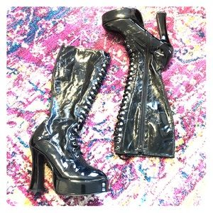 Knee-High Lace-Up Platform Boots (Size W12, M10.5)